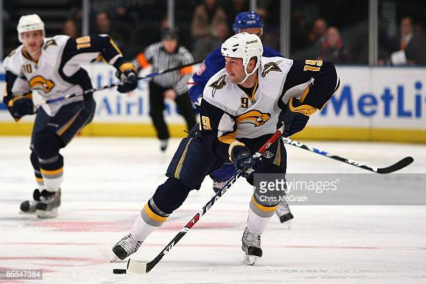 Tim Connolly of the Buffalo Sabres skates with the puck against the New York Rangers during their game on March 21 2009 at Madison Square Garden in...