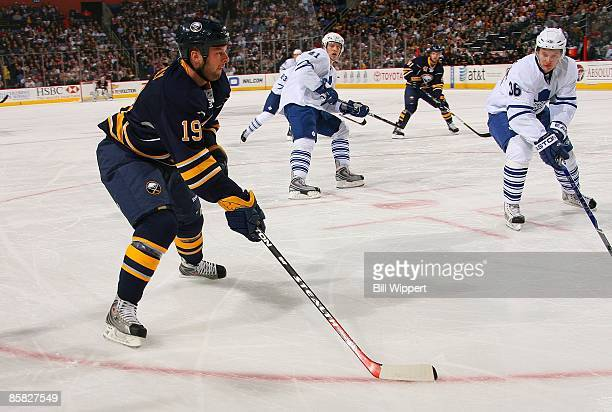 Tim Connolly of the Buffalo Sabres skates with the puck against the Toronto Maple Leafs on March 27 2009 at HSBC Arena in Buffalo New York