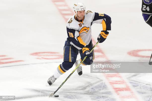 Tim Connolly of the Buffalo Sabres skates with the puck against the Los Angeles Kings on January 21 2010 at Staples Center in Los Angeles California