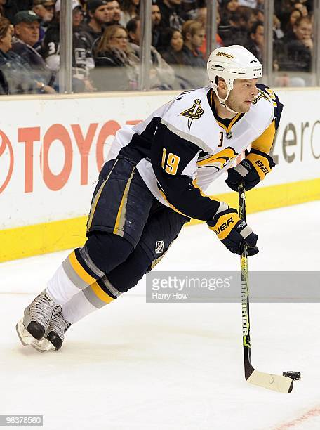 Tim Connolly of the Buffalo Sabres starts a rush against the Los Angeles Kings at the Staples Center on January 21 2010 in Los Angeles California