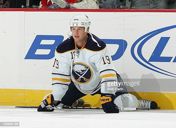 Tim Connolly of the Buffalo Sabres stretches during warmups prior to the start of the game against the New Jersey Devils at the Prudential Center on...