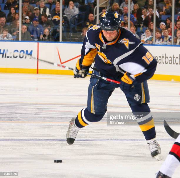 Tim Connolly of the Buffalo Sabres takes a look at the net as he fires a third period shot against the Carolina Hurricanes on November 28 2009 at...