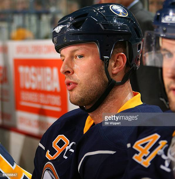 Tim Connolly of the Buffalo Sabres watches the play against the New York Rangers on January 9 2009 at HSBC Arena in Buffalo New York