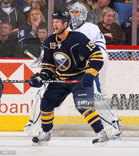 Tim Connolly of the Buffalo Sabres yells for the puck in front of Justin Pogge of the Toronto Maple Leafs on March 27 2009 at HSBC Arena in Buffalo...