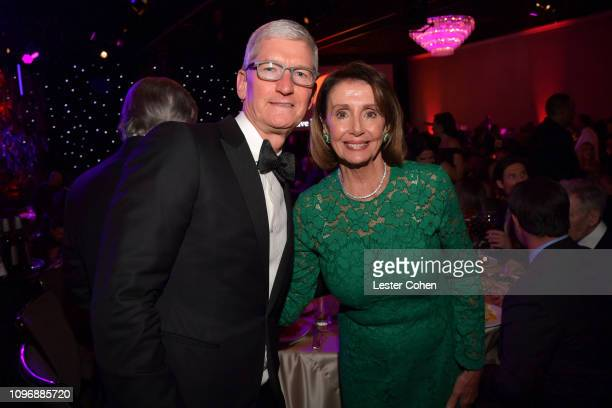 Tim Cook and Nancy Pelosi attend the PreGRAMMY Gala and GRAMMY Salute to Industry Icons Honoring Clarence Avant at The Beverly Hilton Hotel on...