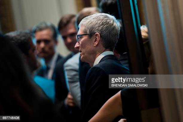 Tim Cook CEO of Apple arrives to hear Senior Advisor Jared Kushner speak during an event with technology sector CEOs at the White House on June 19...