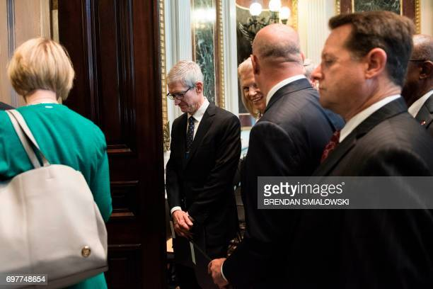 Tim Cook , CEO of Apple, Ginni Rometty , CEO of IBM, and others leave after Senior Advisor Jared Kushner spoke during an event with technology sector...
