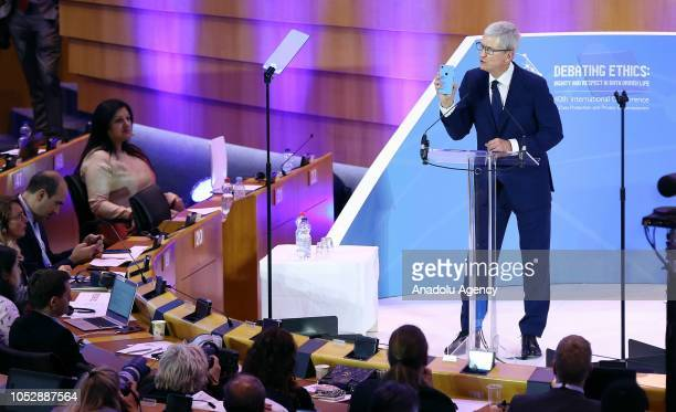 Tim Cook , CEO of Apple Inc talks at the Debating Ethics event at the European Parliament in Brussels, Belgium on October 24, 2018.