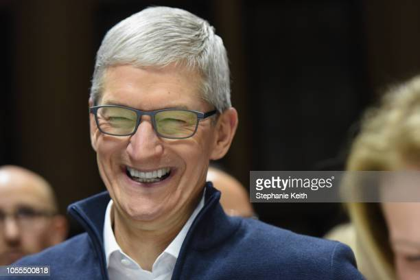 Tim Cook CEO of Apple laughs during a launch event unveiling new products at the Brooklyn Academy of Music on October 30 2018 in the Brooklyn borough...