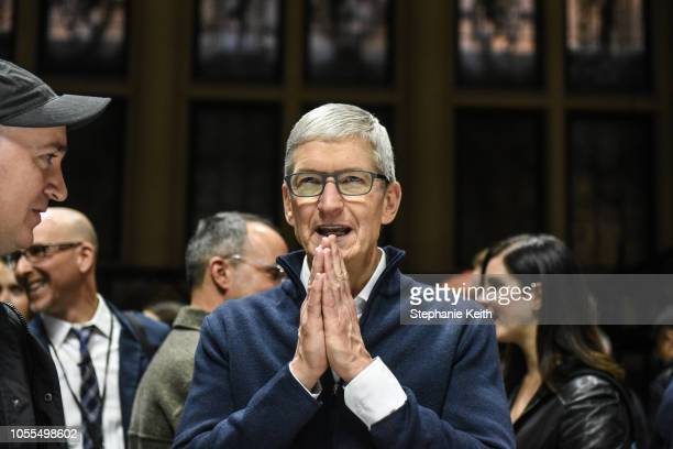 Tim Cook CEO of Apple speaks while unveiling new products during a launch event at the Brooklyn Academy of Music on October 30 2018 in New York City...