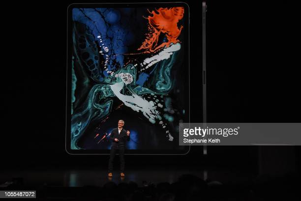 Tim Cook CEO of Apple unveils a new iPad Pro with new Apple Pencil during a launch event at the Brooklyn Academy of Music on October 30 2018 in New...