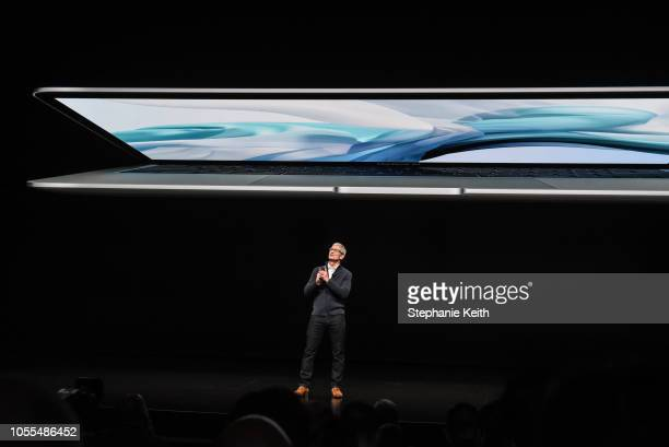 Tim Cook CEO of Apple unveils a new MacBook Air during a launch event at the Brooklyn Academy of Music on October 30 2018 in New York City This is...