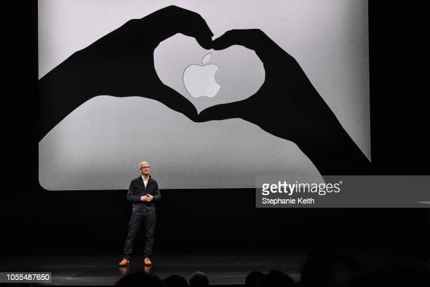 Tim Cook CEO of Apple unveils a new MacBook Air during a launch event at the Brooklyn Academy of Music on October 30 2018 in New York City Apple also...