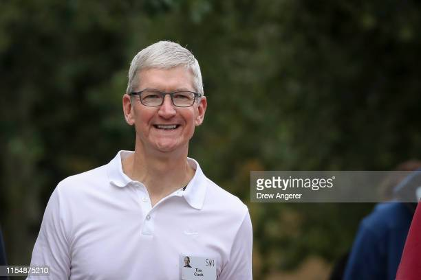 Tim Cook, chief executive officer of Apple, attends the annual Allen & Company Sun Valley Conference, July 10, 2019 in Sun Valley, Idaho. Every July,...