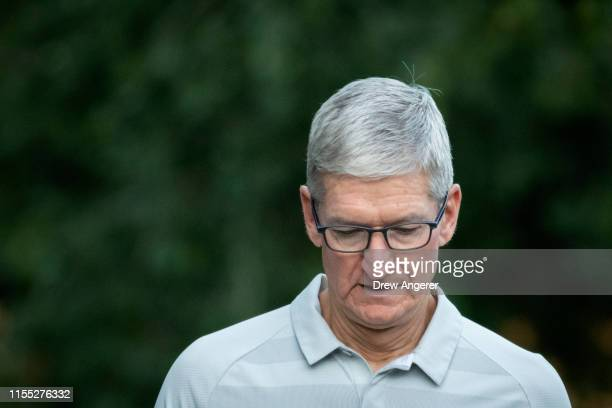 Tim Cook chief executive officer of Apple attends the annual Allen Company Sun Valley Conference July 12 2019 in Sun Valley Idaho Every July some of...
