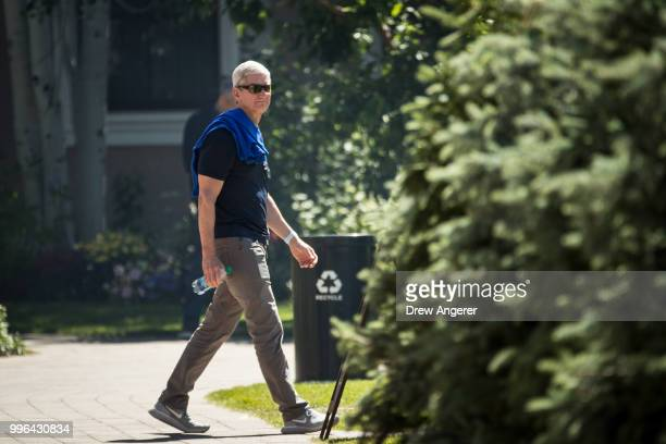 Tim Cook chief executive officer of Apple attends the annual Allen Company Sun Valley Conference July 11 2018 in Sun Valley Idaho Every July some of...