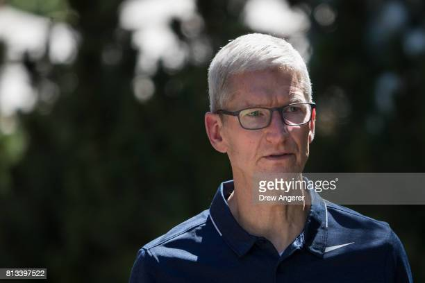 Tim Cook, chief executive officer of Apple, attends the second day of the annual Allen & Company Sun Valley Conference, July 12, 2017 in Sun Valley,...