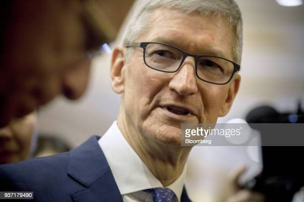 Tim Cook, chief executive officer of Apple Inc., arrives at the China Development Forum in Beijing, China, on Saturday, March 24, 2018. Leaders...