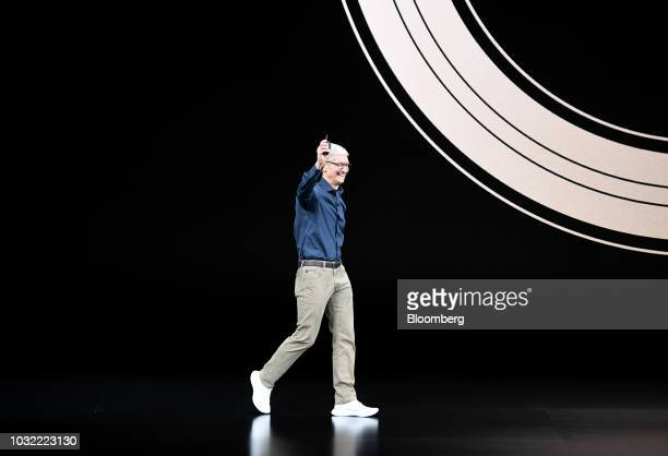 Tim Cook chief executive officer of Apple Inc arrives on stage during an event at the Steve Jobs Theater in Cupertino California US on Wednesday Sept...