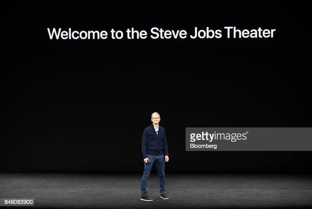 Tim Cook chief executive officer of Apple Inc arrives on stage during an event at the Steve Jobs Theater in Cupertino California US on Tuesday Sept...