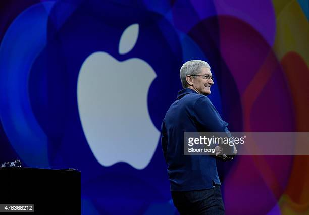 Tim Cook chief executive officer of Apple Inc arrives to speak during the Apple World Wide Developers Conference in San Francisco California US on...