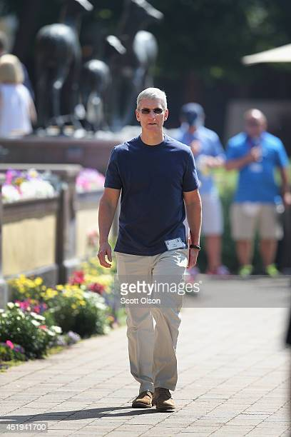 Tim Cook, chief executive officer of Apple Inc., attends the Allen & Company Sun Valley Conference on July 9, 2014 in Sun Valley, Idaho. Many of the...
