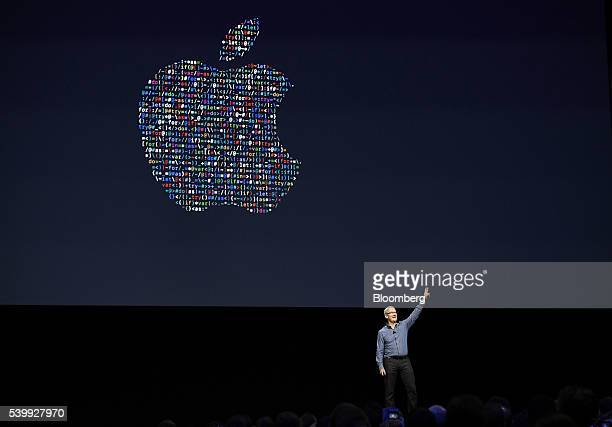 Tim Cook chief executive officer of Apple Inc gestures after speaking during the Apple World Wide Developers Conference in San Francisco California...