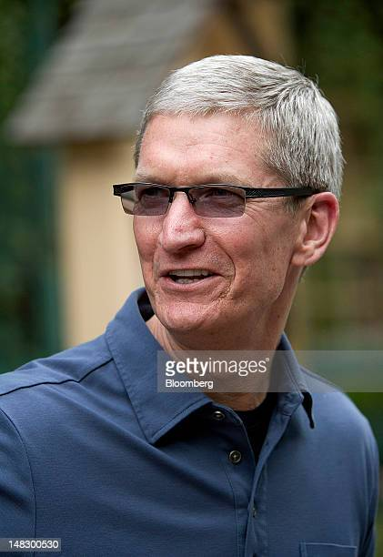 Tim Cook chief executive officer of Apple Inc leaves a morning session at the Allen Co Media and Technology Conference in Sun Valley Idaho US on...