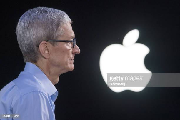 Tim Cook chief executive officer of Apple Inc listens during a Bloomberg Technology television interview at the Apple Worldwide Developers Conference...