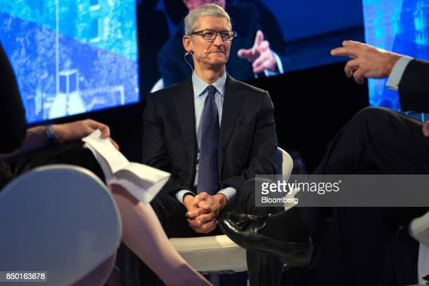 Tim Cook, chief executive officer of Apple Inc., listens during the Bloomberg Global Business Forum in New York, U.S., on Wednesday, Sept. 20, 2017....