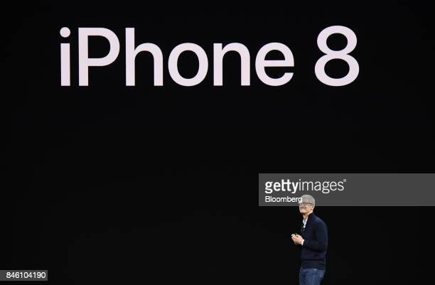 Tim Cook chief executive officer of Apple Inc pauses while speaking about the iPhone during an event at the Steve Jobs Theater in Cupertino...