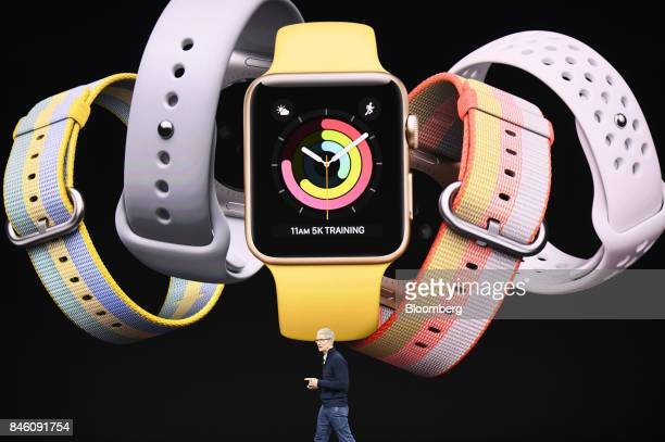 Tim Cook chief executive officer of Apple Inc speaks about Apple Watch during an event at the Steve Jobs Theater in Cupertino California US on...