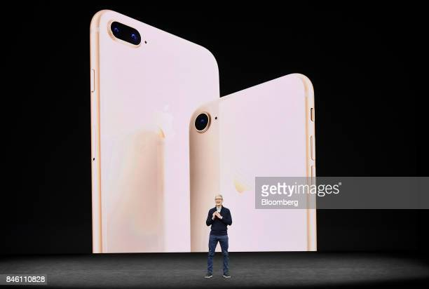 Tim Cook chief executive officer of Apple Inc speaks about the iPhone 8 and 8 Plus during an event at the Steve Jobs Theater in Cupertino California...