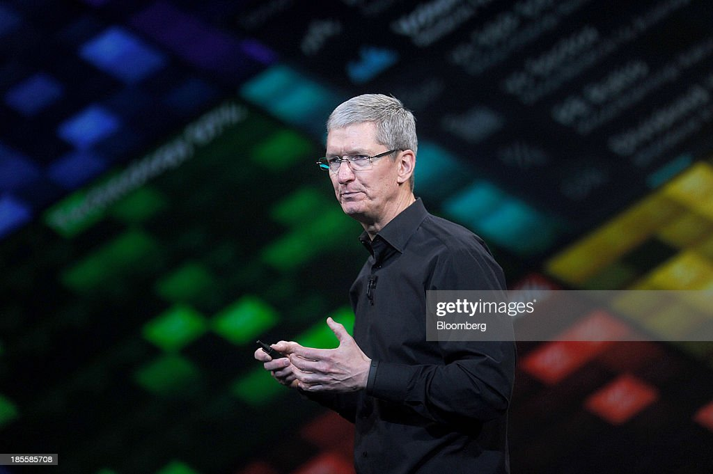 Tim Cook, chief executive officer of Apple Inc., speaks during a press event at the Yerba Buena Center in San Francisco, California, U.S., on Tuesday, Oct. 22, 2013. Apple Inc. introduced new iPads in time for holiday shoppers, as it battles to stay ahead of rivals in the increasingly crowded market for tablet computers. Photographer: Noah Berger/Bloomberg via Getty Images