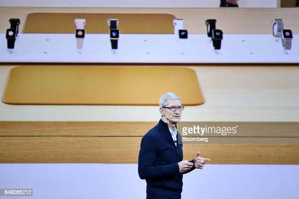 Tim Cook chief executive officer of Apple Inc speaks during an event at the Steve Jobs Theater in Cupertino California US on Tuesday Sept 12 2017...