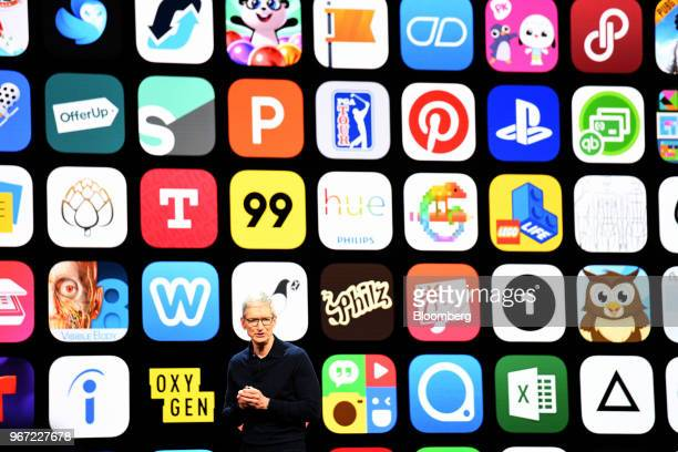 Tim Cook chief executive officer of Apple Inc speaks during the Apple Worldwide Developers Conference in San Jose California US on Monday June 4 2018...