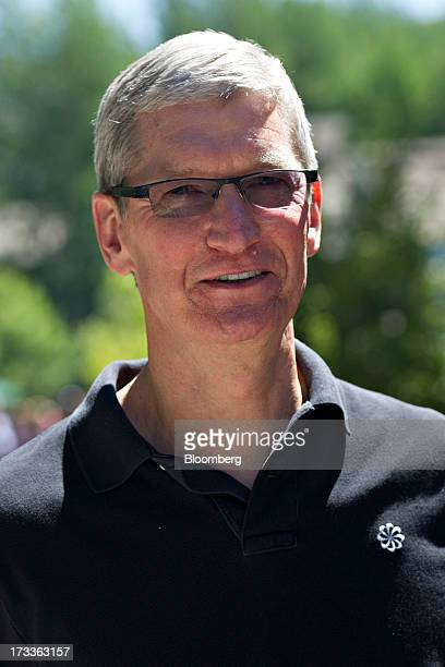 Tim Cook, chief executive officer of Apple Inc., walks outside during the Allen & Co. Media and Technology Conference in Sun Valley, Idaho, U.S., on...