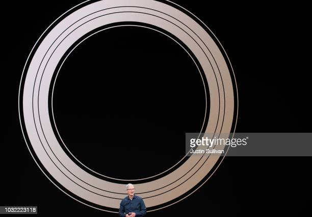 Tim Cook chief executive officer of Apple speaks during an event at the Steve Jobs Theater at Apple Park on September 12 2018 in Cupertino California...