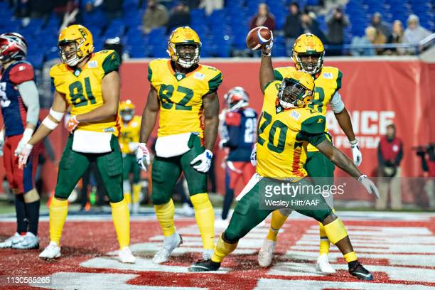 Tim Cook of the Arizona Hotshots celebrates after scoring a touchdown during a game against the Memphis Express at the Liberty Bowl Memorial Stadium...