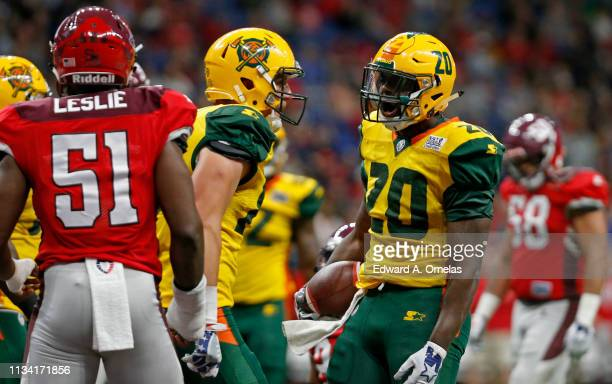 Tim Cook of the Arizona Hotshots reacts after scoring a touchdown against the San Antonio Commanders during an Alliance of American Football game at...