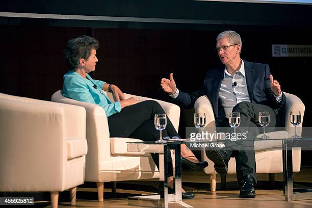 Tim Cook , president and CEO of Apple, Inc., discusses the interaction between business and climate with Christina Figueres, the Executive Secretary...
