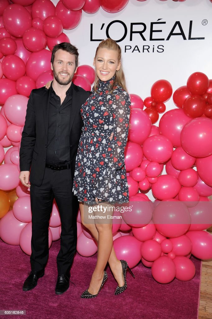 Tim Coolican and Blake Lively attend the L'Oreal Paris Paints + Colorista launch event at West Edge on February 13, 2017 in New York City.