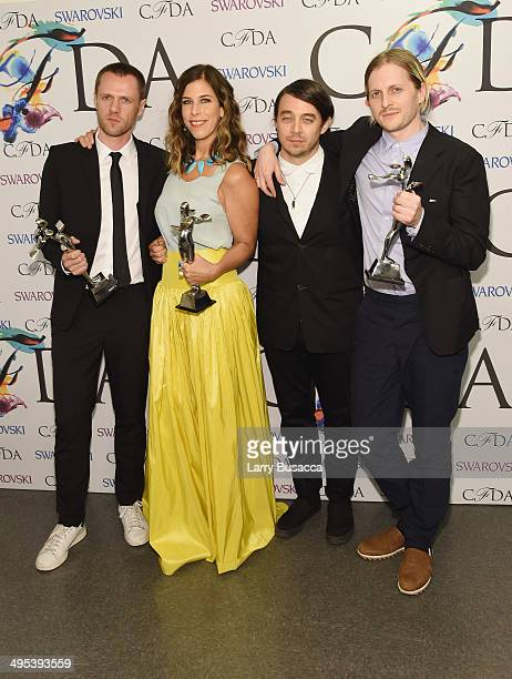 Tim Coppens Irene Neuwirth Christopher Peters and Shane Gabier attend the winners walk during the 2014 CFDA fashion awards at Alice Tully Hall...