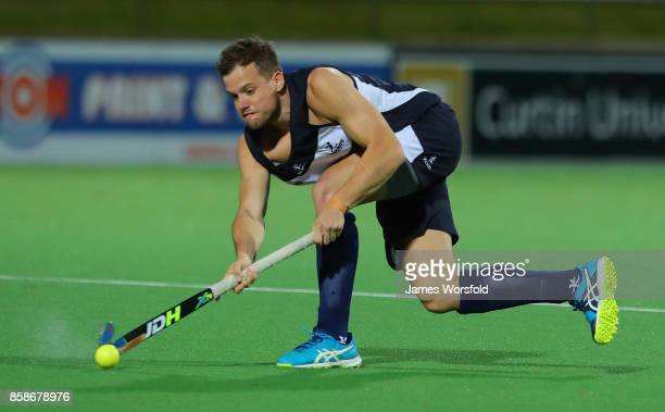 Tim Cross makes a pass to his team mate during the men's 2017 Australian Hockey League Semi Final Game 2 between Victoria and New South Wales at the...