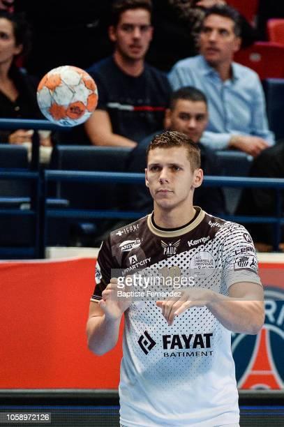 Tim Dahlhaus of Pays d'Aix Universite during the Lidl Starligue match between Paris Saint Germain and Pays d'Aix Universite Club at Stade Pierre de...