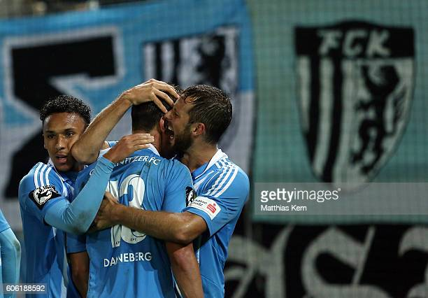 Tim Danneberg of Chemnitz jubilates with team mates after scoring the first goal during the third league match between Chemnitzer FC and FSV Zwickau...