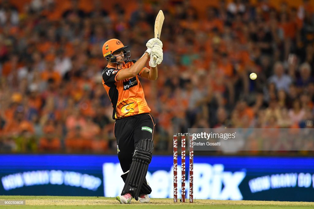 Tim David of the Scorchers bats during the Big Bash League match between the Perth Scorchers and the Sydney Sixers at WACA on January 1, 2018 in Perth, Australia.