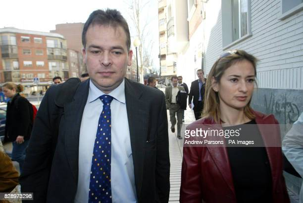 Tim Davies chief executive of Leicester City Football Club and players' lawyer Ana Ruiperez arrive at a court in Cartagena where three of the club's...