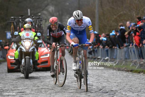 Tim Declercq of Belgium and Team Deceuninck - Quick-Step / Frederik Frison of Belgium and Team Lotto Soudal / Bosberg / Cobblestones / during the...