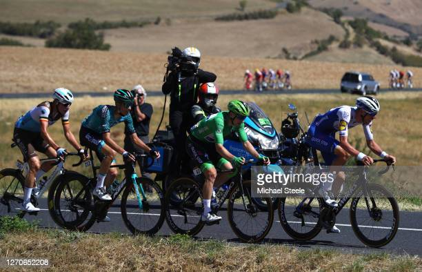 Tim Declercq of Belgium and Team Deceuninck - Quick-Step / Sam Bennett of Ireland and Team Deceuninck - Quick-Step Green Points Jersey / Cyril Barthe...